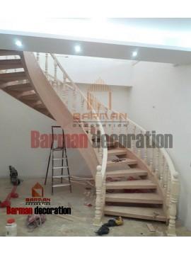 پله گرد -پله پیچ - نرد چوبی
